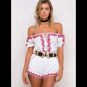 Mexican Sunset Off The Shoulder Playsuit